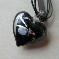 Black & Silver Glass Heart Pendant (Heart only)