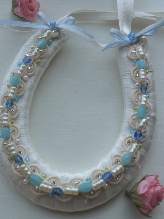 Small Ivory and Blue Wedding Horseshoe