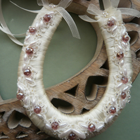 Small Purple Beaded Wedding Horseshoe