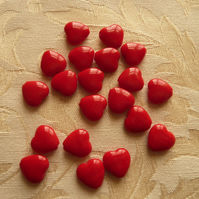 Red Valentine Glass Heart Beads