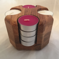 Tea Light storage holder Tidy Organiser wood oak