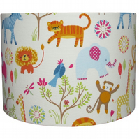 Handmade drum lampshade - African animal design - 30cm diameter