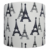 Handmade drum lampshade - Eiffel Tower design - 20cm diameter
