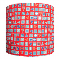 Handmade drum lampshade - nautical flag design - 20cm diameter