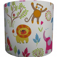 Handmade drum lampshade - African animal design - 20cm diameter