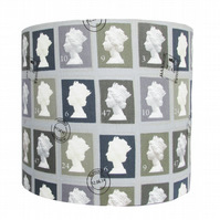 Handmade grey postage stamp drum lampshade - 20cm diameter