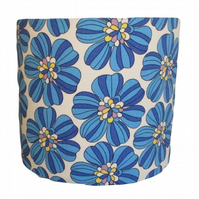 Handmade bold retro blue flower drum lampshade - 20cm diameter