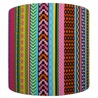 Handmade safari stripe drum lampshade - 20cm diameter