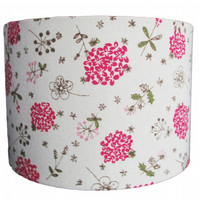 Handmade pink flower design linen look drum lampshade - 30cm diameter