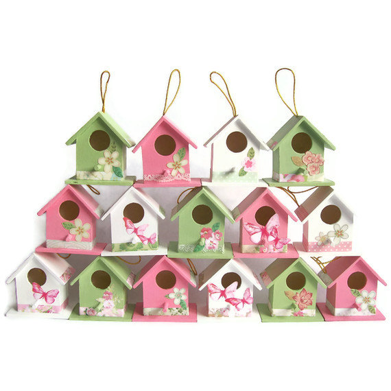 50 shabby chic wood birdhouse wedding favours