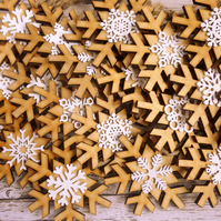 100 winter wedding favours, rustic laser cut wood snowflake Christmas ornaments