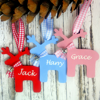 Wooden reindeer personalised Christmas ornament new baby, boy, girl custom name