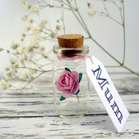 1st anniversary personalised gift Paper rose in tiny glass bottle & your message