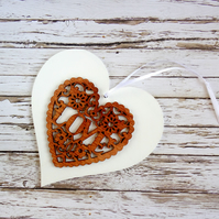 White & Wood LOVE Heart Ornament Wedding Decor 5th Wedding Anniversary Gift