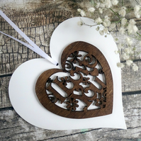 Valentine or 5th Wedding Anniversary Gift. White Wood Heart I Love You Ornament