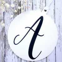 Hand-painted personalised Christmas bauble decoration with initial