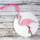 Flamingo Christmas tree decoration, hand-painted bauble in pink & white
