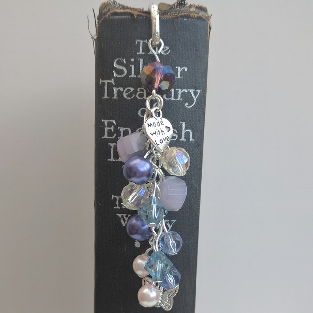Tibetan Silver Bookmark with Charms & re-purposed Amethyst Coloured Beads