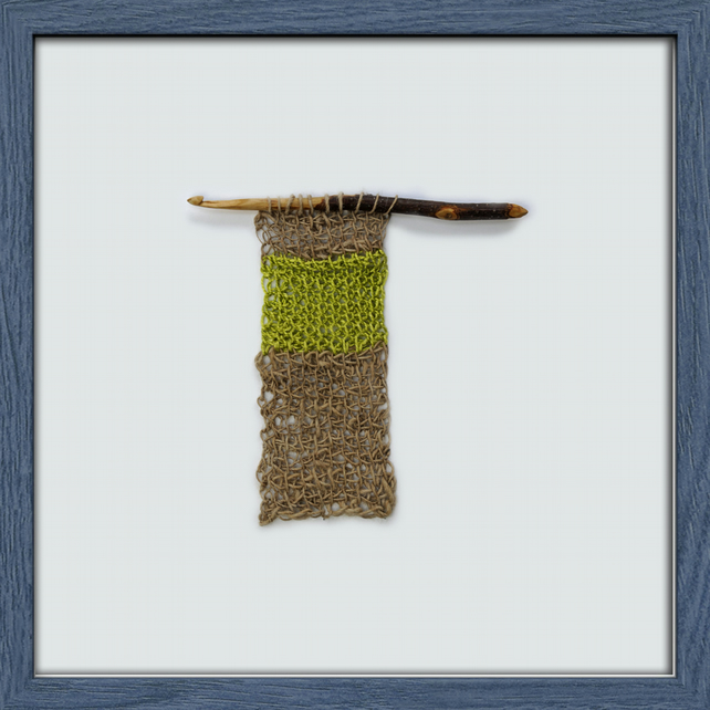 Mossy tree trunk Framed textile artwork