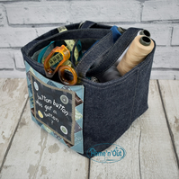 Fabric denim storage sewing basket