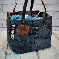 Fabric denim waterproof storage basket, craft storage, books carrier