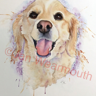 Custom pet portrait dog portrait in Watercolour, pen and ink. Original pet art.