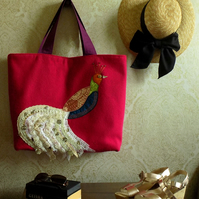 Hot Pink Weekend Tote Bag with Applique Bird Design