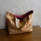Embroidered Gold Faux Silk Tote Bag