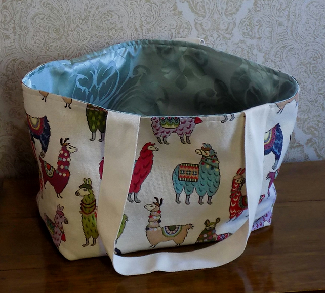 LLAMA TOTE BAG IN TAPESTRY FABRIC LINED IN DUCK EGG BLUE DAMASK