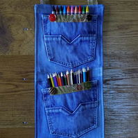 Faded Denim Hanging Jeans Storage Pockets with Decorative Edging