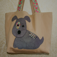 Tote Bag Featuring Applique Dog