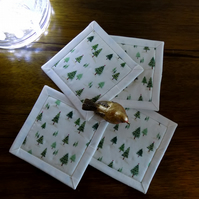 Non Slip Christmas Tree Fabric Coasters