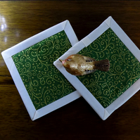 Green and Gold Scroll Non Slip Coasters