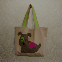 Dog Design Tote Bag in Brown with Internal Pockets