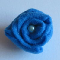 Ladies Dark Blue Felt Rose Corsage