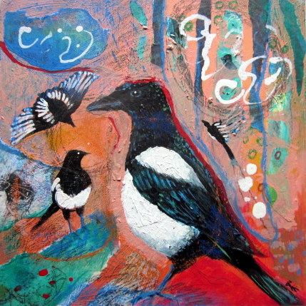 Original painting Magpies