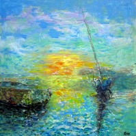 Original painting sea and boats at sunset