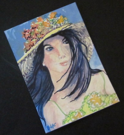 Summer hat ACEO original miniature painting
