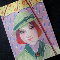 Green Hat in the Rain ACEO original miniature painting