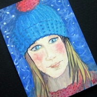 Knitted Winter Hat ACEO original miniature painting