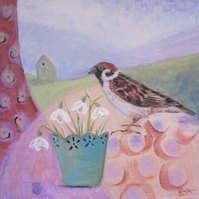 Snowdrops and Sparrow original painting on canvas