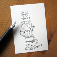 Owl and Mouse in Teacups ACEO original drawing