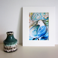 Mounted print, Kittiwake seagull, bird art