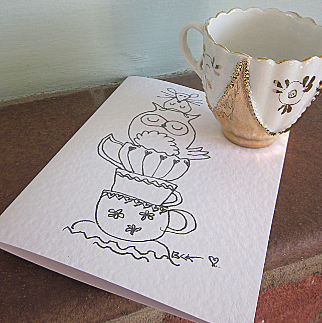 Teacups greeting card from original pen and ink drawing