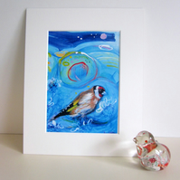 Mounted print, Goldfinch, bird art