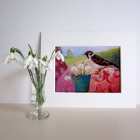 Mounted print, Snowdrops and Sparrow, bird art, flower painting