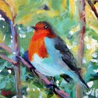 Original painting of Robin, hand painted bird art