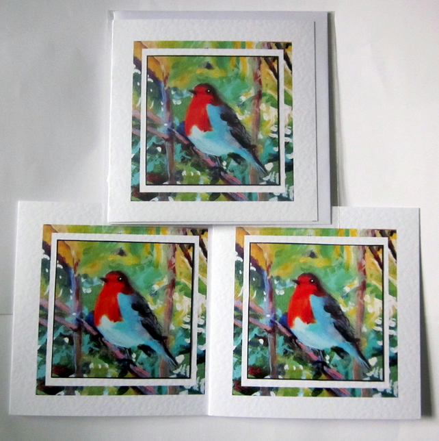 Set of 3 Robin Christmas greeting cards with prints of my original painting