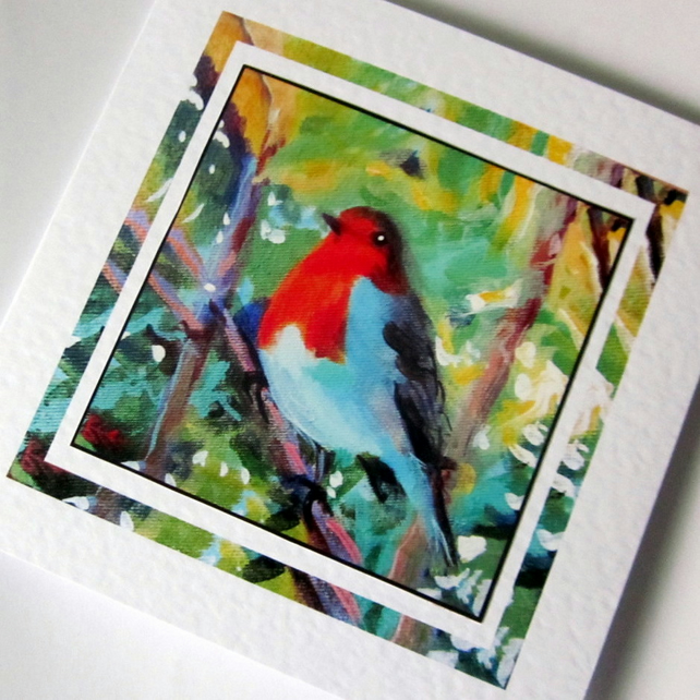 Christmas greeting card  from my original Robin painting