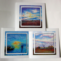Set of 3 art greeting cards sea and landscapes from my original paintings